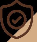 Ícone de um escudo com um check confirmando o material de qualidade